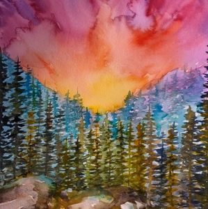 Watercolor Painting 🌈🌲